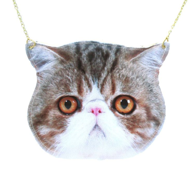 Exotic Shorthair Calico Kitty Cat Face Shaped Vinyl Animal Themed Cross Shoulder Bag   DOTOLY