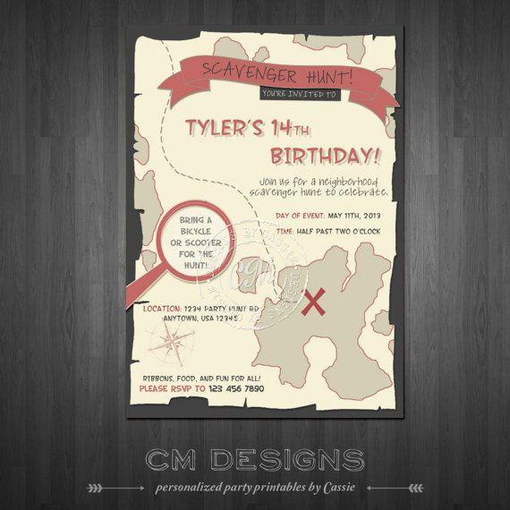 scavenger hunt map birthday invite