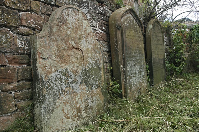 """The grave of witch Lizzie o Banton (real name Lizzie Batty) who died in Brampton, Cumbria in 1817. She was 'guilty' of """"acting in a peculiar manner, dressing curiously and generally 'acting the part',"""" She died of old age, however, rather than being burnt at the stake"""