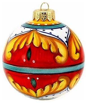 Christmas Ornament: Red Pia Design - Round Ball Sm. - mediterranean - Christmas Ornaments - Artistica Italian Gallery