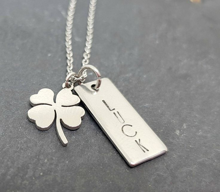 Stainless Steel 4 Leaf Lucky Clover Necklace, Hand Stamped Irish Shamrock Necklace, Lucky Four Leaf Clover Necklace for ST Patrick's Day by DreasJewels1 on Etsy