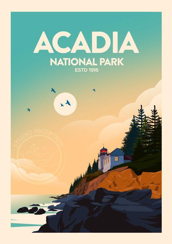 Acadia National Park National Park Print Travel Poster Etsy National Park Posters Travel Posters Vintage Travel Posters