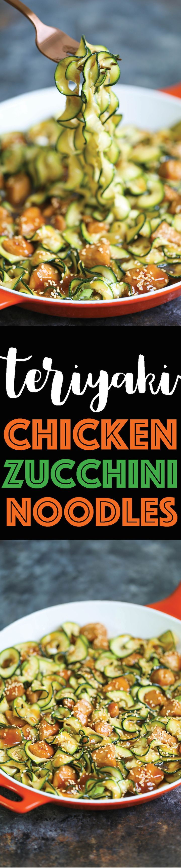 Teriyaki Chicken Zucchini Noodles - The easiest 10-minute HEALTHY and LOW-CARB Asian zucchini noodles with a homemade teriyaki sauce made from scratch!!!