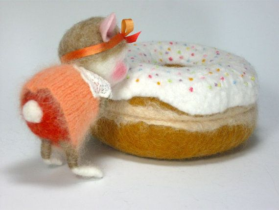 ADOPT A BUNNY Needle Felted Bunny Sweet Pea TINY Wool by barby303