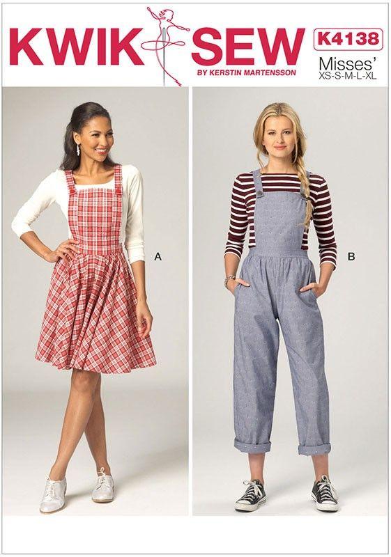 Misses Jumper and Jumpsuit Kwik Sew Sewing Pattern 4138. XS-XL.