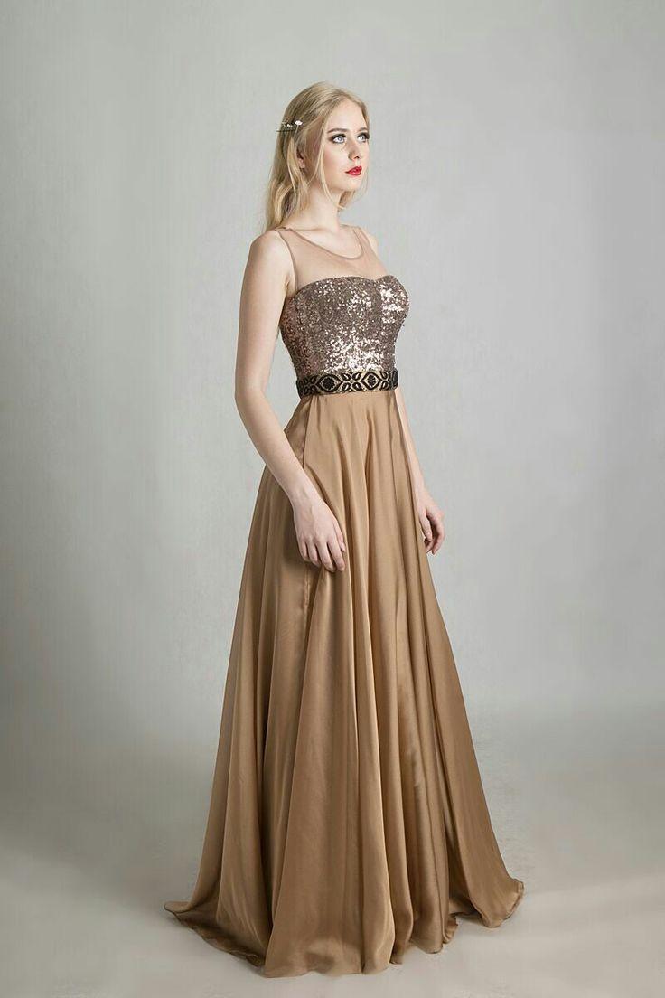 Champagne silk dress by Ivone Sulistia