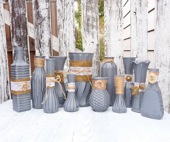 Burlap and Lace Grey RUSTIC SHABBY CHIC Vase set by SoFrickinCute, $120.00