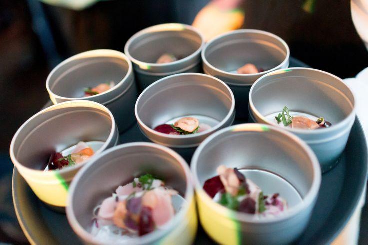 Albacore Tataki; Puffed Black Rice, Cabbage, Ponzu Gel, Green Onion, Garlic Chips, Pickled Plum #PGHLaunchParty | Pacific Gateway YVR