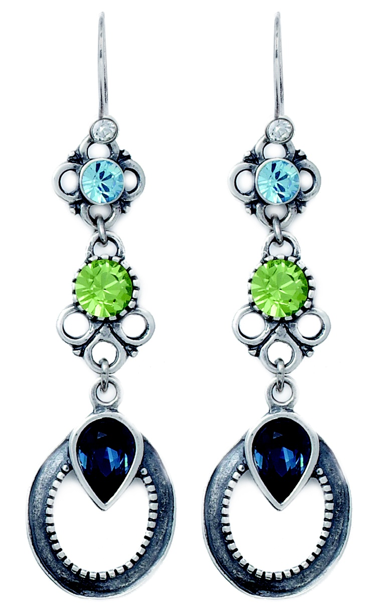 Stunning burnished silver earrings encrusted with a cascade of Montana, Aquamarine and Peridot Swarovski Crystals (E2369).