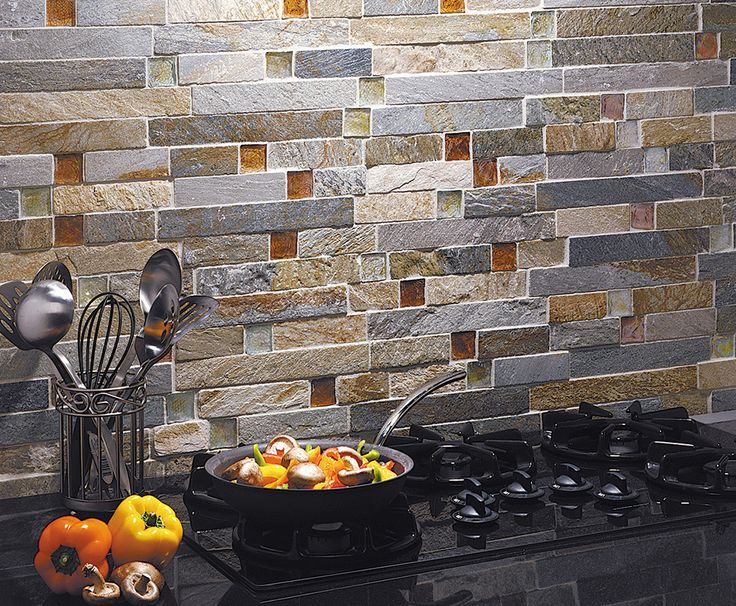 This Is What I Have In Mind For Bathroom Wall But Using Shades Of Blue Sea Gl Colored Square Stacked Stone Tile With By Jeffrey Court