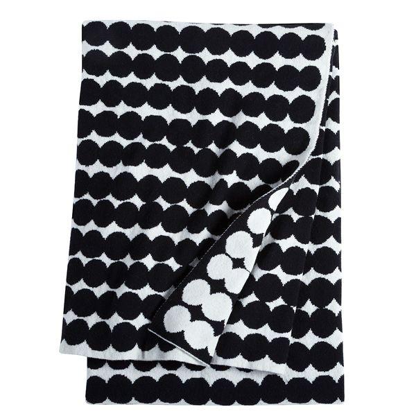 Räsymatto blanket, black, by Marimekko.