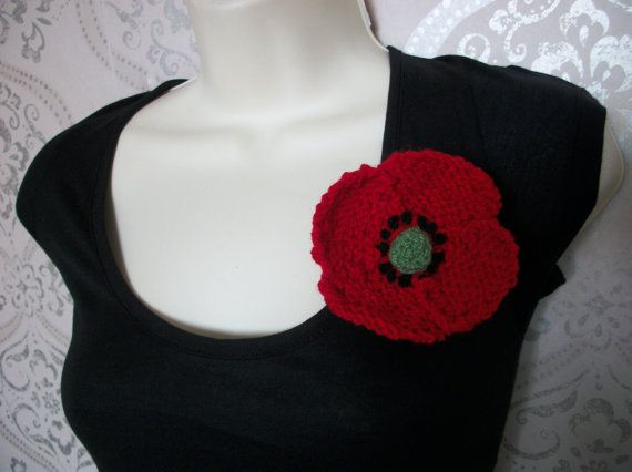 Hand knitted red poppy brooch corsage House by thekittensmittensuk, $10.00