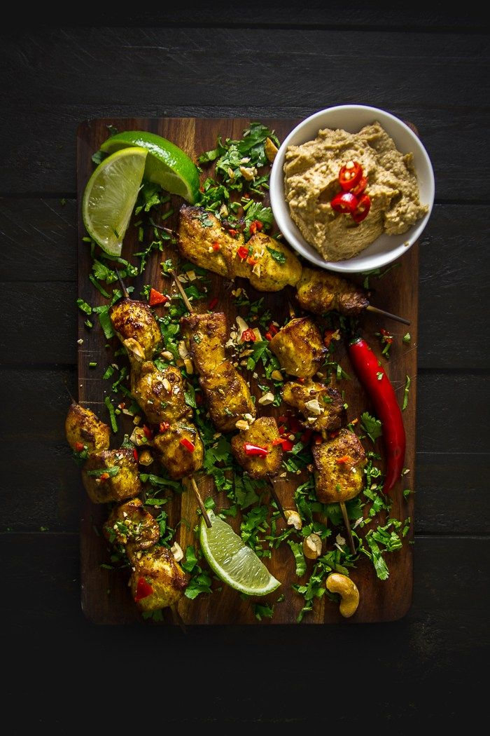 Balinese Chicken Satay Skewers with Cashew Sauce-3