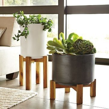 wood and ceramic planters