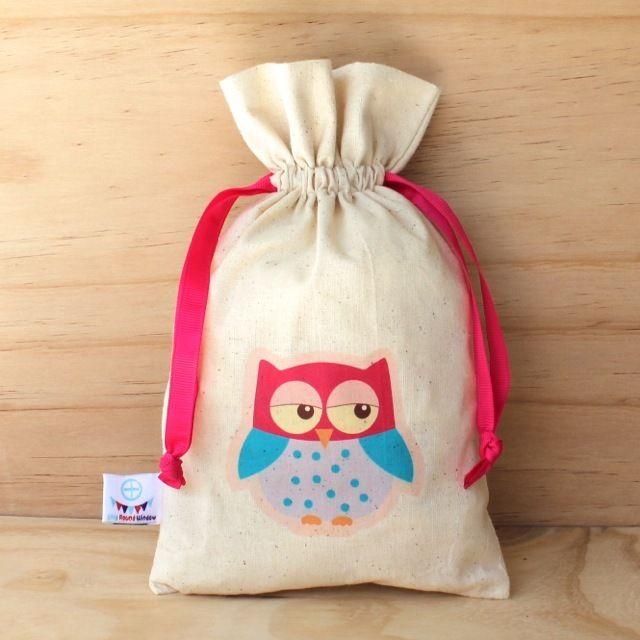Sweet Pink Owl Calico Drawstring Bag