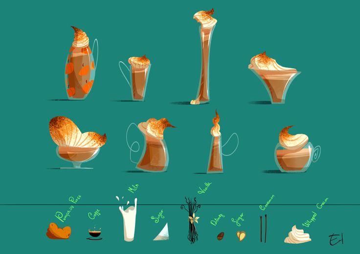OctoberConceptArt Day13: Pumpkin Spice Latte - Props design