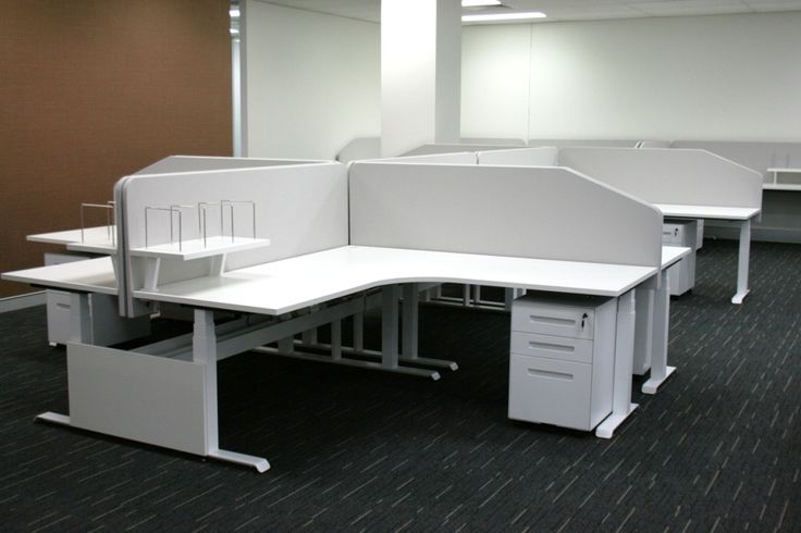 Hi-Lo sit stand workstation. Designed & manufactured by Burgtec. (Federation Centres project)