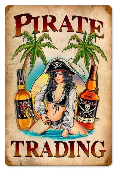 Pirate Trading Pinup Girl Vintage Metal Sign