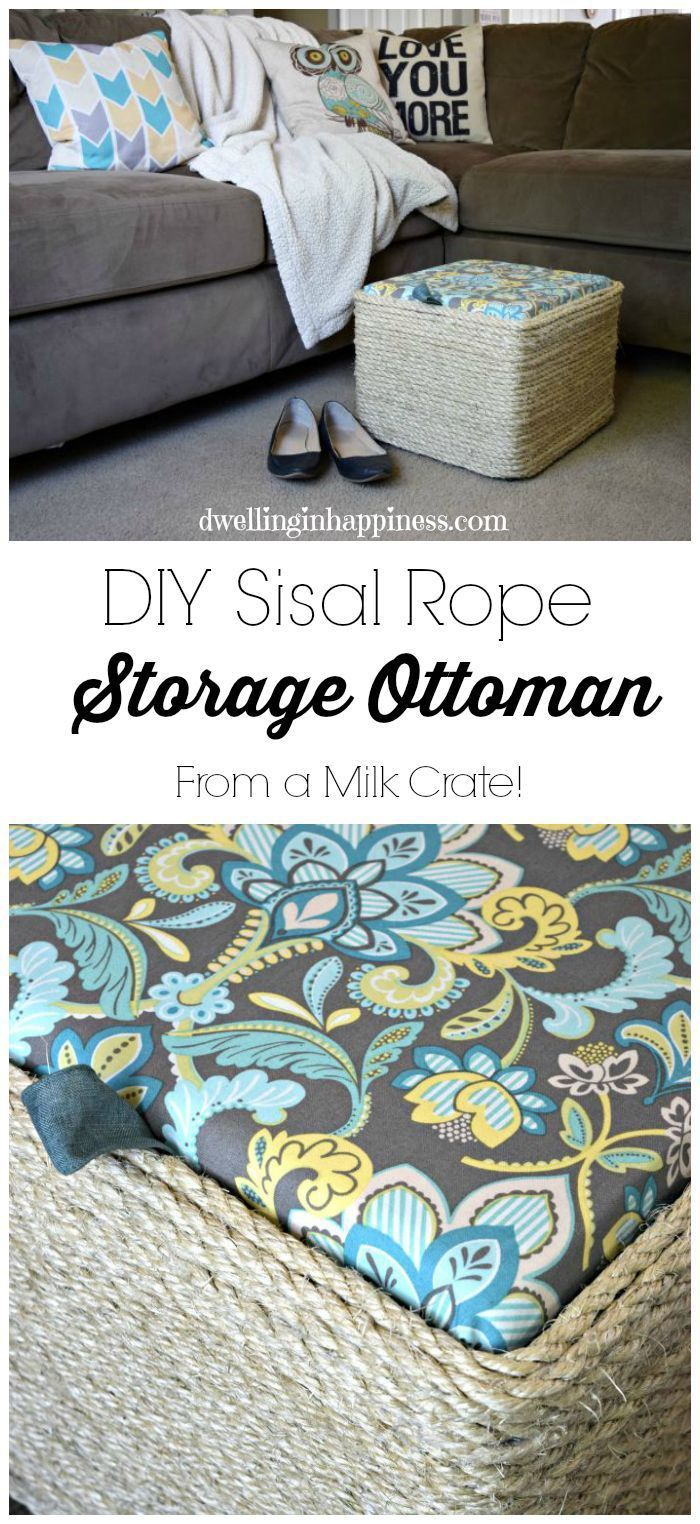 Your mom deserves to put her feet up. Create this budget-friendly storage ottoman with only a milk crate, sisal rope, MDF, a glue gun, batting, the Arrow Heavy Duty T50 staple gun and fabric. Wrap the sisal rope around the crate using the glue gun, and then upholster the MDF with the staple gun. Add a pull tab and place it next to your mom's favorite chair so she can relax on Mother's Day. Great gift idea! www.arrowfastener.com