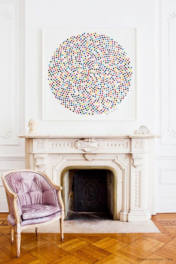 Home Tour: A Legendary New York Townhouse via @domainehome // Damien Hirst, marble fireplace, Louis chair