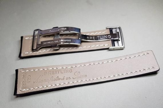 22mm Breitling Nevitimer Chronomat Watch Stitched Accessories Watch Etsymktgtool 22mmbreitli Leather Watch Bracelet Leather Watch Strap Black Leather Strap