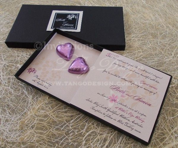 custom 3d wedding invitations with heart chocolates in a