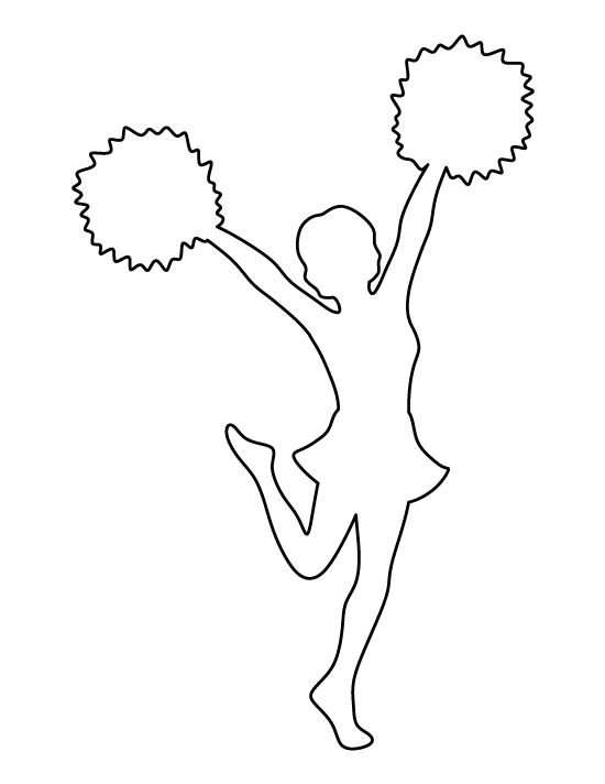 Cheerleader pattern. Use the printable outline for crafts, creating stencils, scrapbooking, and more. Free PDF template to download and print at http://patternuniverse.com/download/cheerleader-pattern/