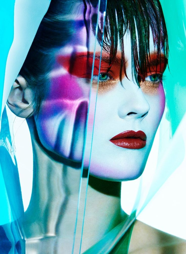 model Jac Jagaciak becomes a canvas for bold makeup looks. Shot by Greg Kadel for Let's Panic Magazine