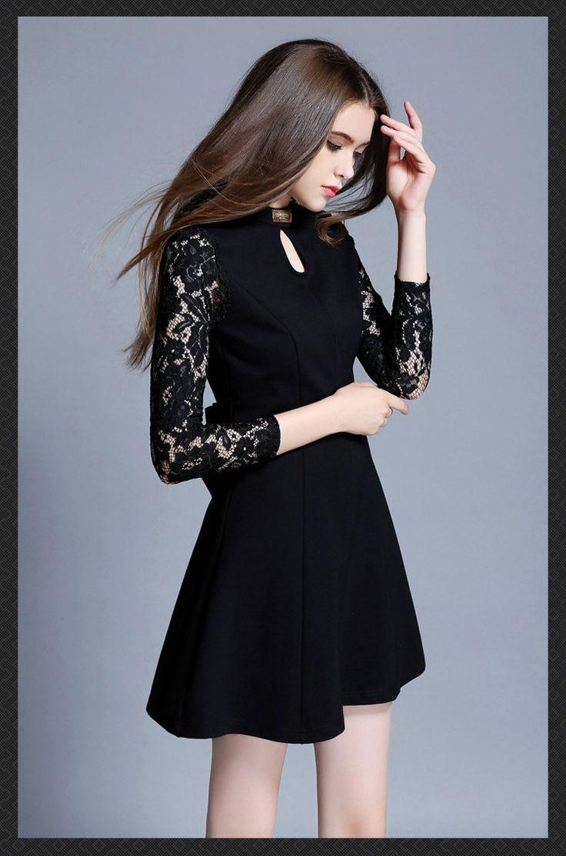 2016 nouvelles femmes printemps été mode Sexy broderie de dentelle couture à manches longues o - cou Backless noir robe LGF1505218 Prix : € 33,51 / pièce Prix réduit :€ 26,81 / pièce