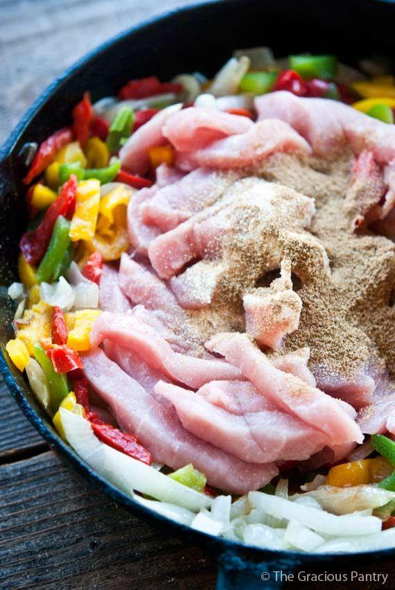 Saubere essen Schweinefleisch Fajitas