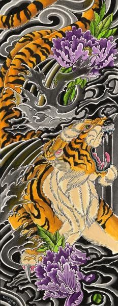 Japanese Tiger by Mike Godfrey Asian Tattoo Artwork Canvas Art Print – moodswingsonthenet
