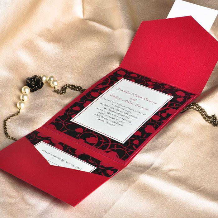 modern red and black pocket printable wedding invitation kits EWPI026