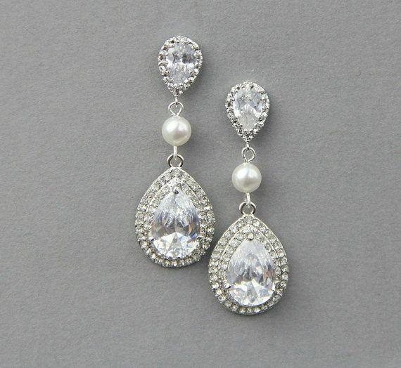 Bridal teardrop  drop earrings, Wedding crystal  pearl earrings ,wedding jewelry , vintage wedding jewelry- Style 539