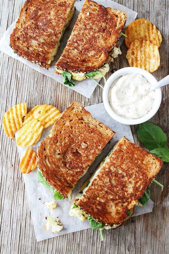 Roasted Cauliflower Grilled Cheese with Lemon Mustard Aioli Recipe