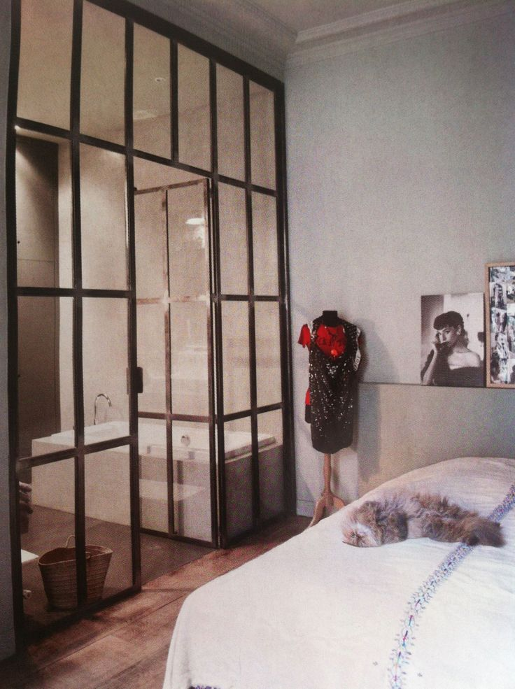 Interior crittall window steel frame partitions for Internal bedroom design