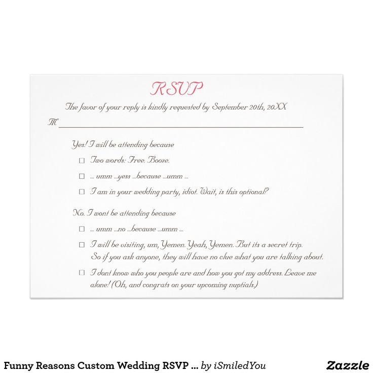 24 best wedding invites images on pinterest destination weddings funny reasons custom wedding rsvp invitation card stopboris Images