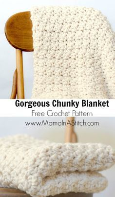 Make this gorgeous crochet blanket with Lion Brand Wool-Ease Thick & Quick! Free pattern by Mama i