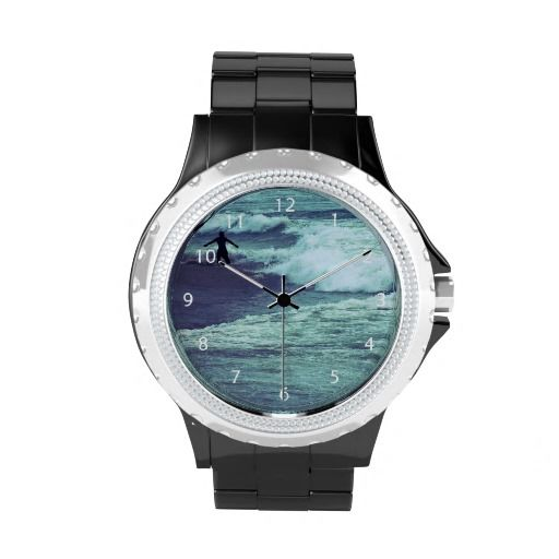 Silhouette of a man playing with sea waves / Rhinestone Wrist Watch #fomadesign