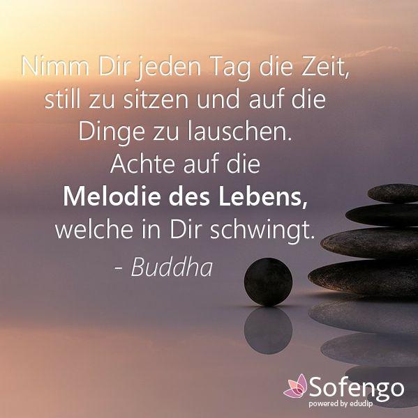Nimm Dir jeden Tag die Zeit, still zu sitzen und auf die Dinge zu lauschen. Achte auf die Melodie des Lebens,welche in Dir schwingt.-Buddha