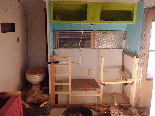 kitchen + bathroom | Vintage trailers, Camper renovation