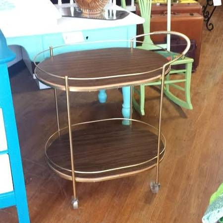 Mid century metal bar cart tea cart for sale at Frugal Fortune, Lakewood, Ohio 44107.