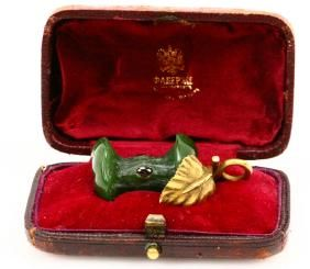 Lot: Karl Faberge Nephrite Apple Bit W/Solid 56 Gold, Lot Number: 0002G, Starting Bid: $1,000, Auctioneer: GWS Auctions Inc., Auction: Russian Aristocratic Family Estate Auction, Date: July 29th, 2017 CDT