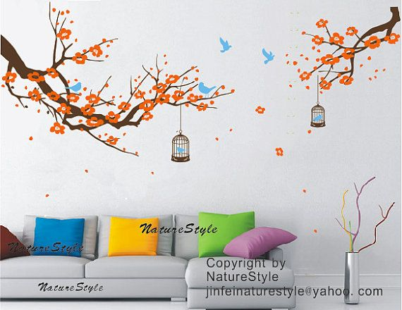cherry blossom wall decal flower birds wall sticker by NatureStyle
