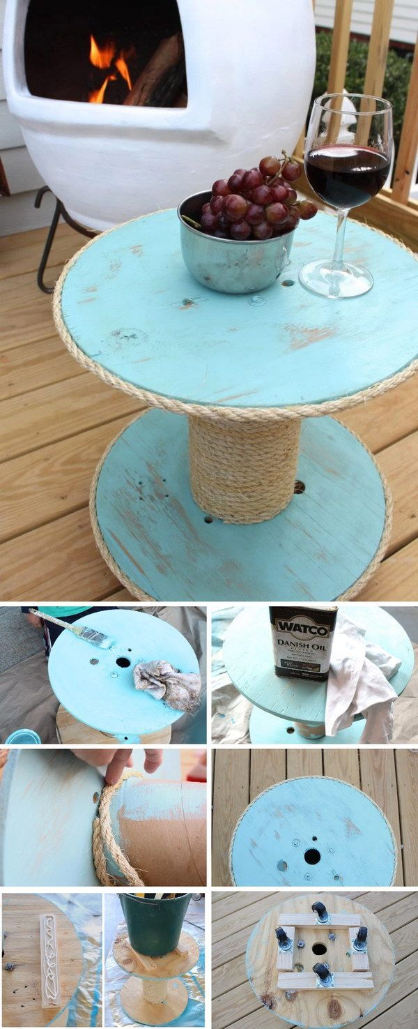 DIY Nautical Spool Side Table for Under $12.