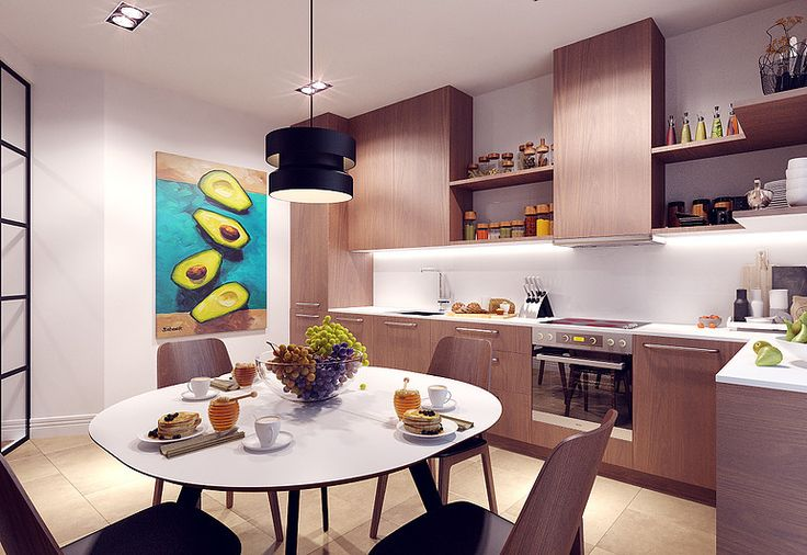 colorful bright wooden kitchen avokado painting boconcept wooden chairs