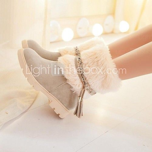 Women's Shoes Round Toe Chunky Heel Mid-Calf Boots with Fur More Colors available - USD $ 39.99