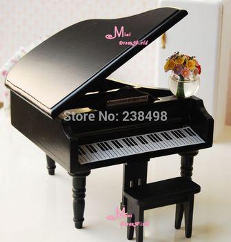 Grátis frete ~ preto miniatura cadeira Piano de cauda instrumento Musical coleção Toy Dollhouse Miniature 1/12 acessórios da boneca
