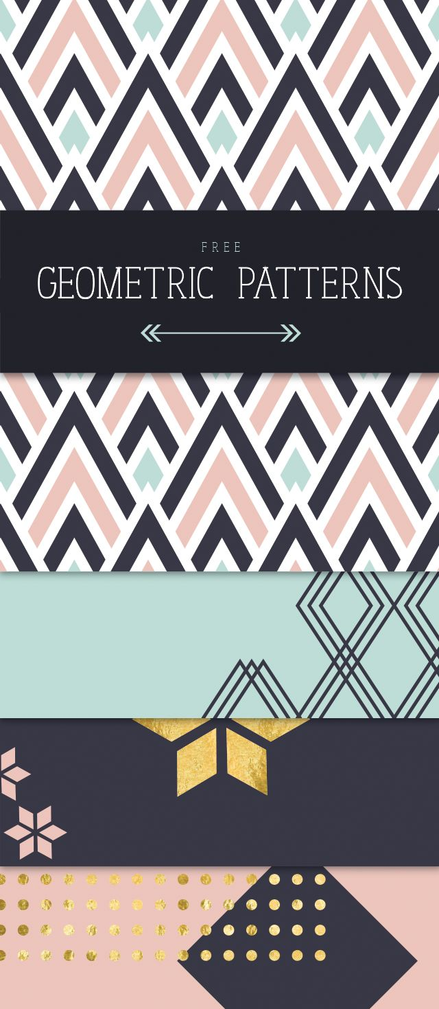 Geometric Patterns - Designs By Miss Mandee. Loving the color palette! You can never go wrong with a touch of gold foil. These would make awesome wrapping paper!