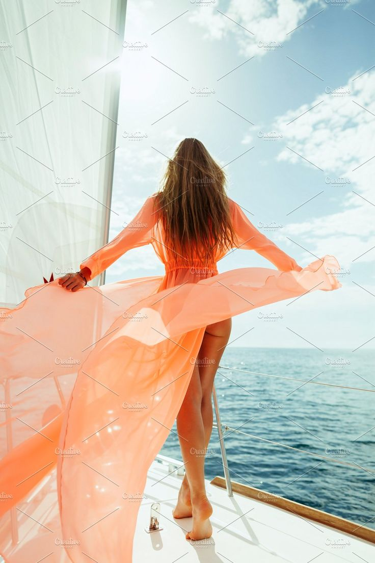 luxury woman yachting in pareo by Olyryk & Aglo on Creative Market #yachting #ya…