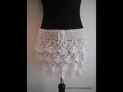 how to crochet ruffle skirt free pattern tutorial - YouTube
